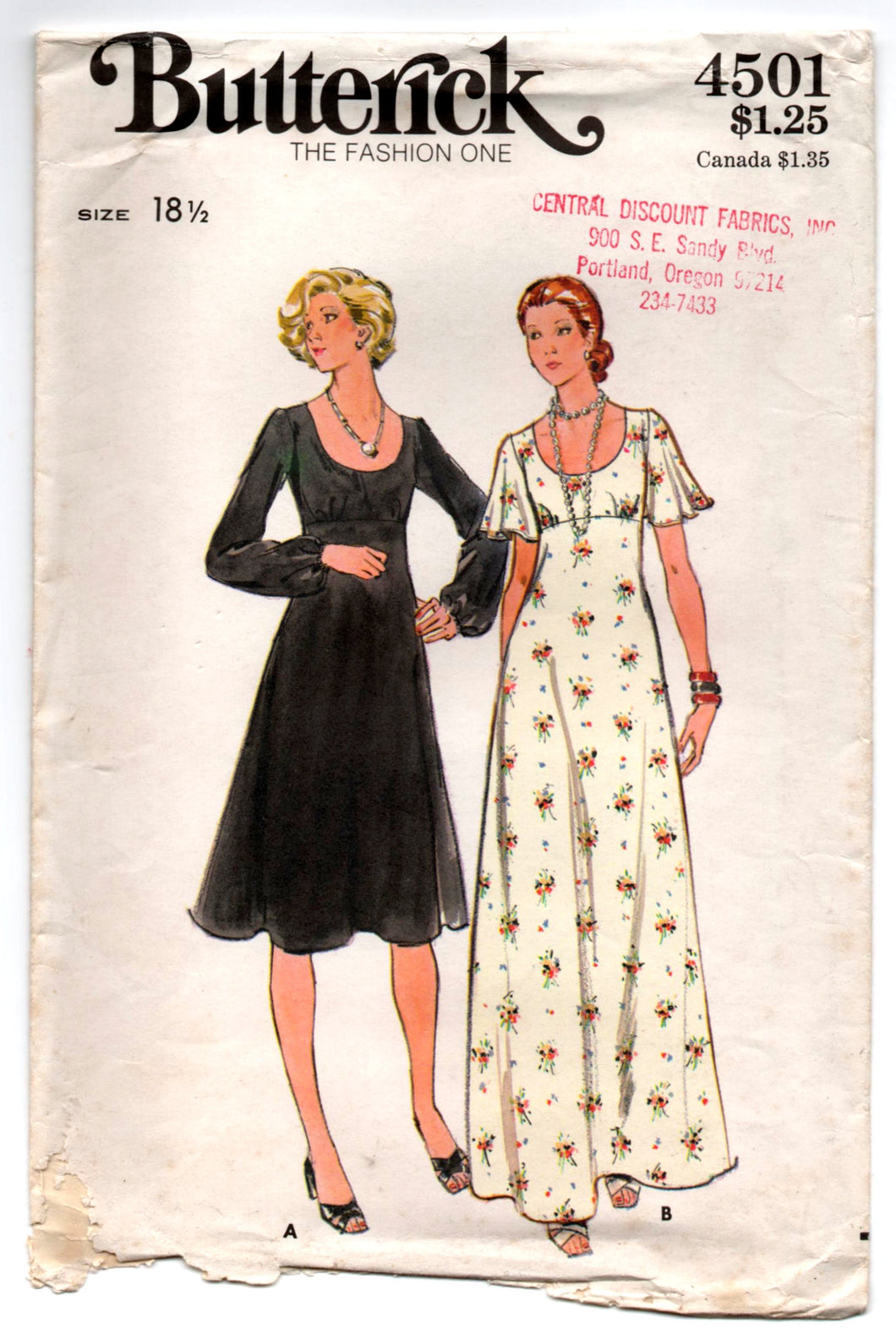 1970's Butterick One-Piece Maxi Evening Dress with Long or Flutter sleeves Pattern - Bust 41