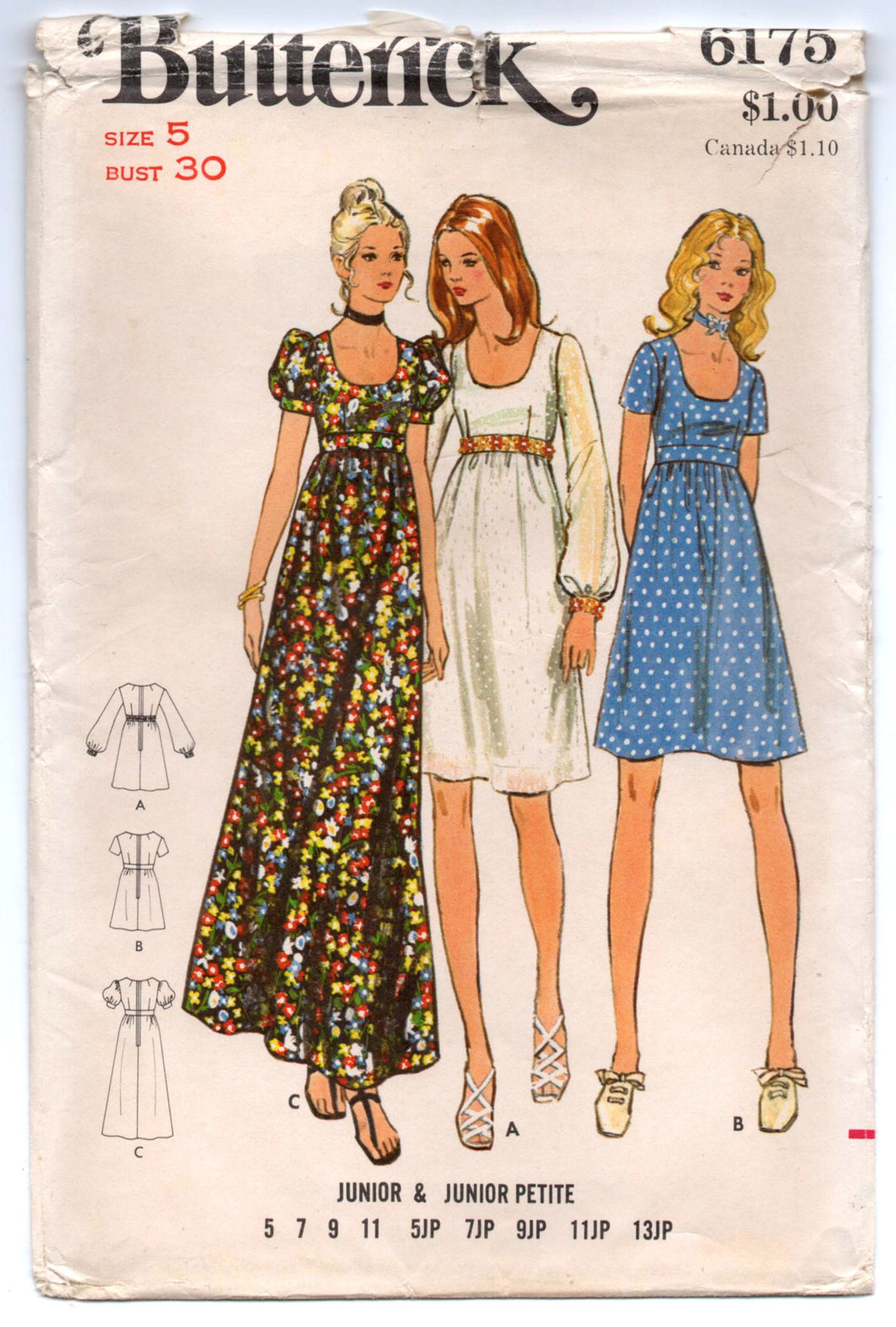 1970's Butterick One-Piece Maxi Dress with Long or Puff sleeves Pattern - Bust 30