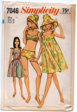 "1960's Simplicity One-Piece Dress with Tie Shoulders, Bathing Suit and Hat Pattern - Bust 31"" - no. 7046"