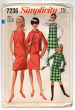 "1960's Simplicity One-Piece Mod Dress, Jacket and Jumper Pattern - Bust 36"" - no. 7236"