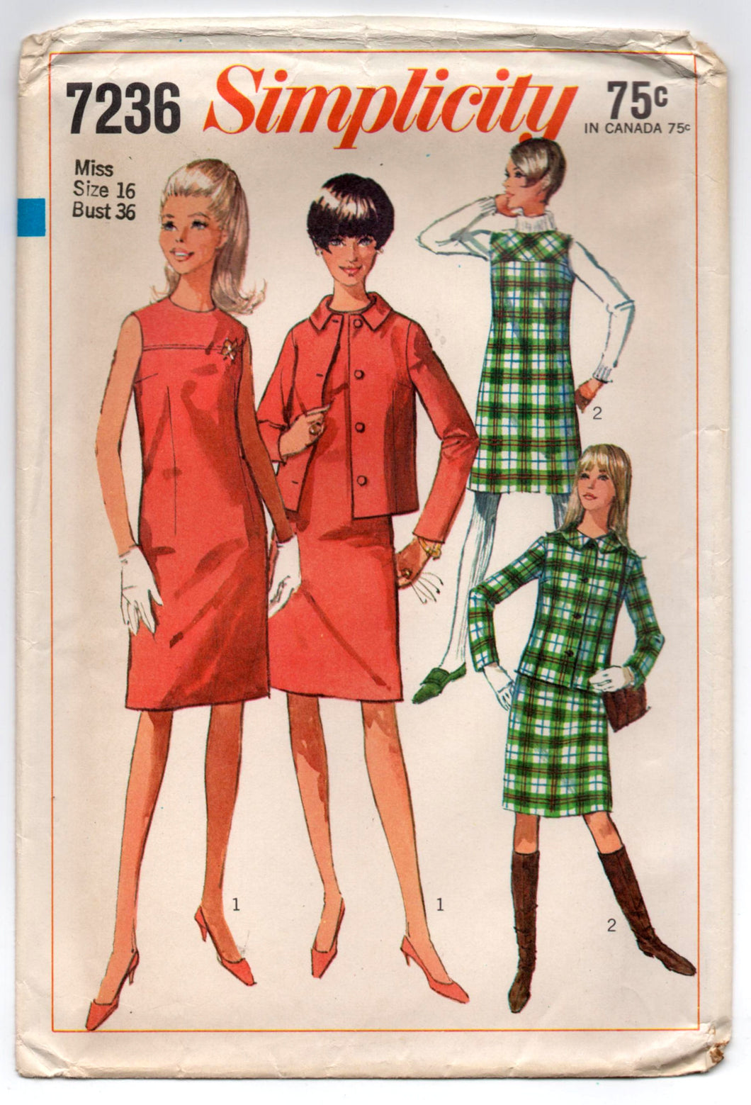 1960's Simplicity One-Piece Mod Dress, Jacket and Jumper Pattern - Bust 36