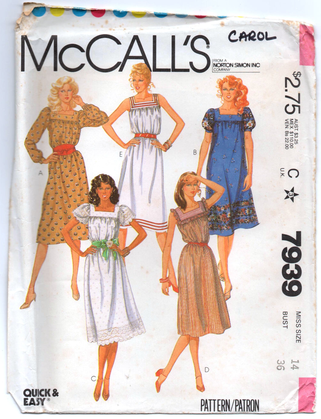 1980's McCall's Summer Dress Square Neckline and Puff Sleeves Pattern - Bust 36