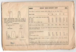 "1950's Simplicity Slim Skirt or A-Line Wrap Skirt with Pockets Pattern - Waist 28"" - UC/FF - no. 4409"