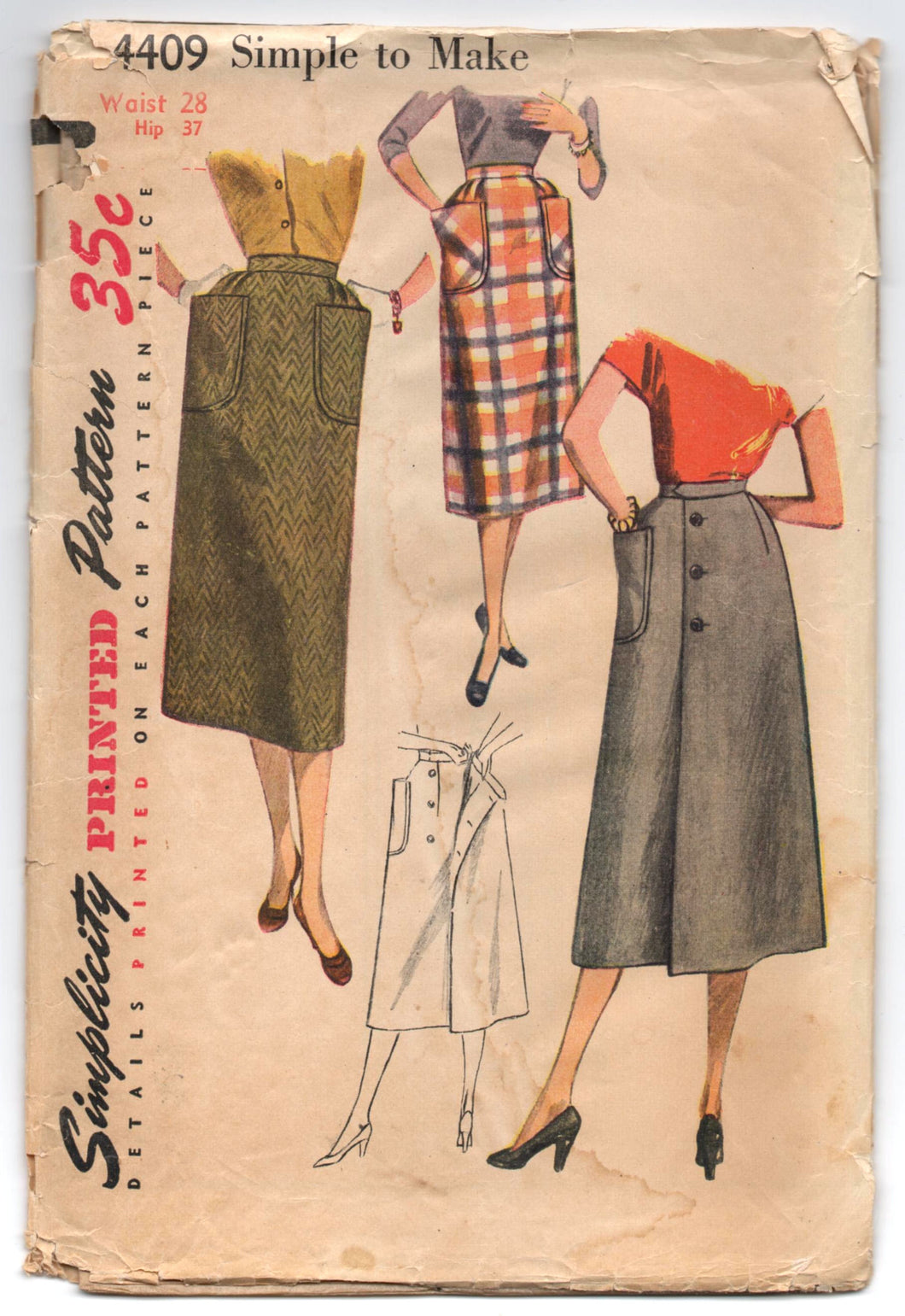1950's Simplicity Slim Skirt or A-Line Wrap Skirt with Pockets Pattern - Waist 28