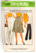 "1970's Simplicity A-line Skirt and Wide legs Pants Pattern - Waist 37""-44"" - UC/FF - No. 7899"