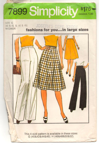 1970's Simplicity A-line Skirt and Wide legs Pants Pattern - Waist 37