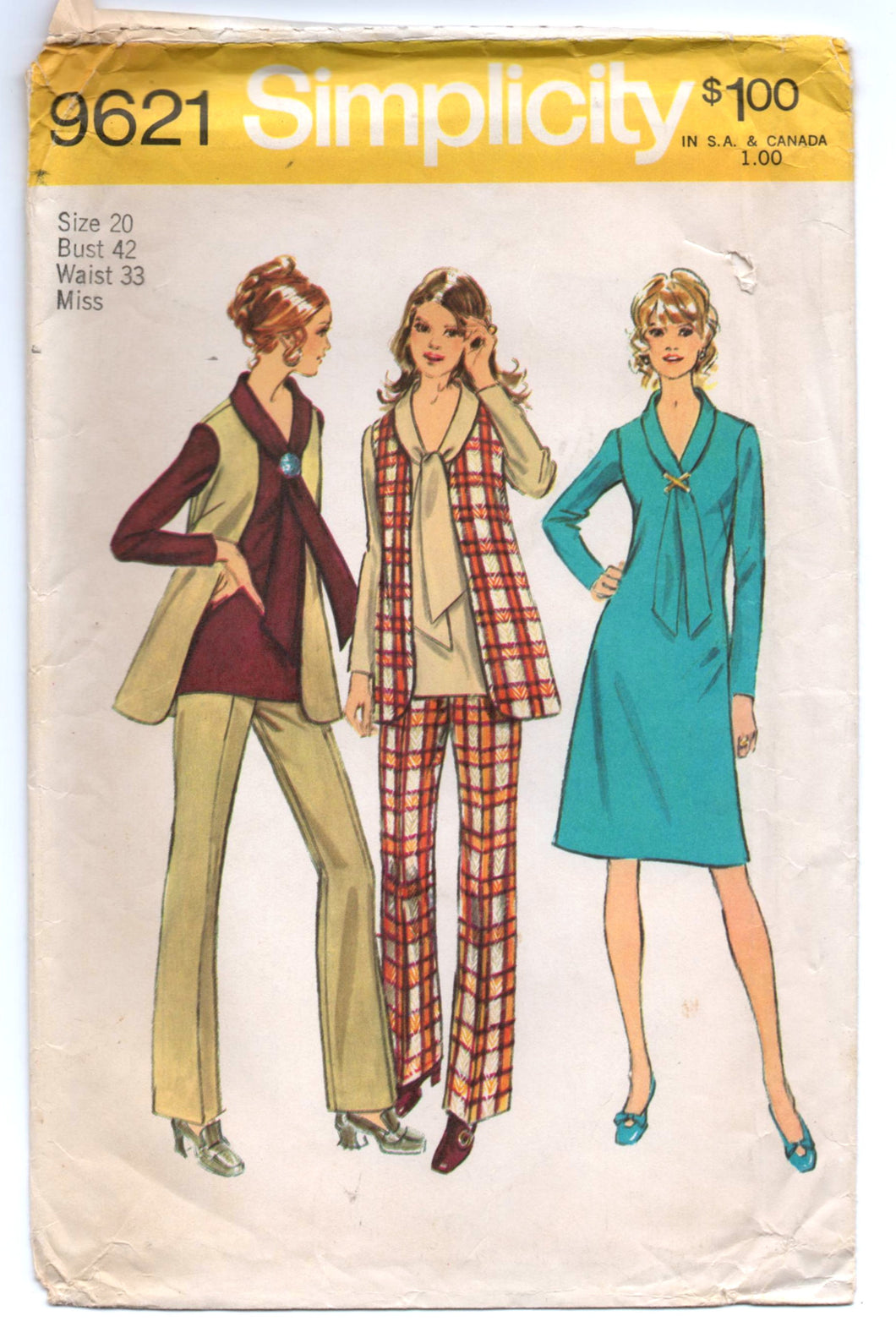 1970's Simplicity One Piece Sheath Dress, Vest, Pants, Blouse with Bow detail Pattern - Bust 42