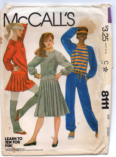 1980's McCall's Work out Outfit or Sweatshirt, Skirt and Sweat Pants Pattern - Bust 32.5-34