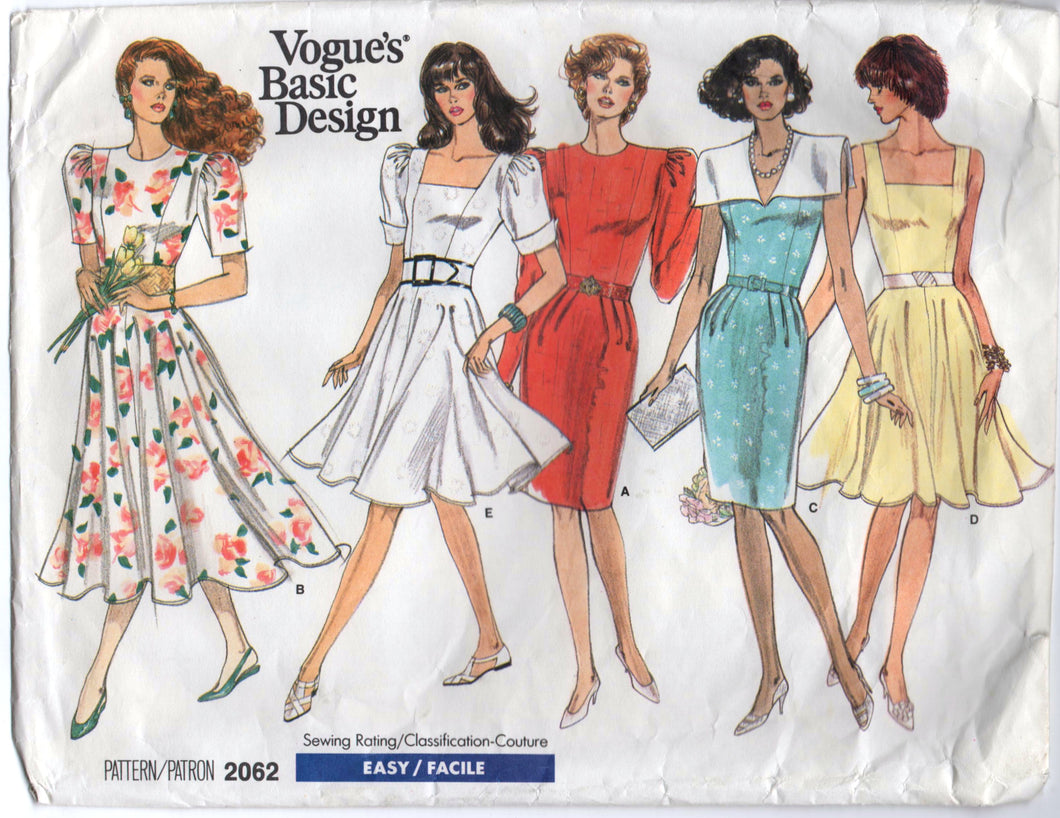 1980's Vogue Basic Design One Piece Dress with 3 Sleeve styles and 3 Collar Styles Pattern - Bust 31.5-32.5