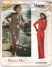 "1980's Vogue Paris Original Maxi and Cocktail Dress Pattern with Cross back and Long Sleeves -Christian DIOR - Bust 32.5"" - UC/FF - No. 1449"