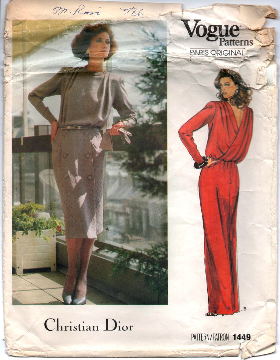1980's Vogue Paris Original Maxi and Cocktail Dress Pattern with Cross back and Long Sleeves -Christian DIOR - Bust 32.5
