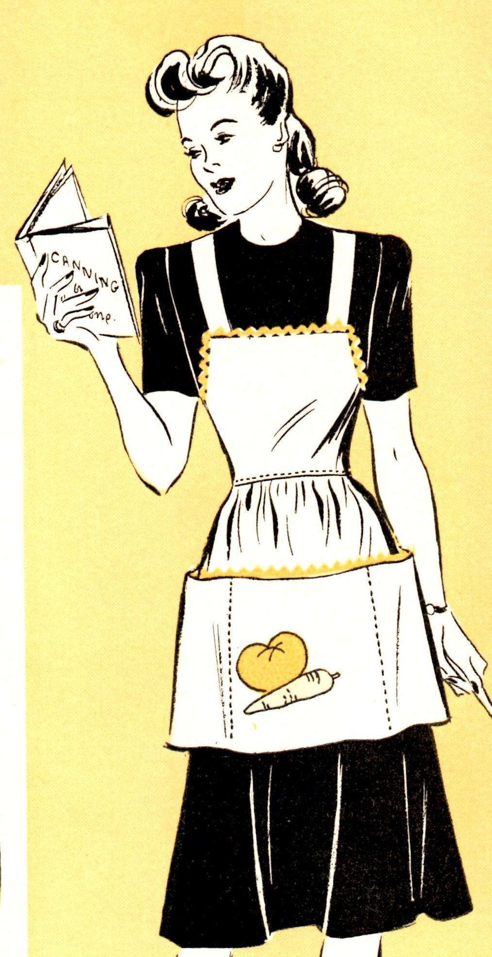 Instant PDF Download - 1940's Marian Martin Full Apron with Veggie Applique Pattern - One Size - From Marian Martin Catalog