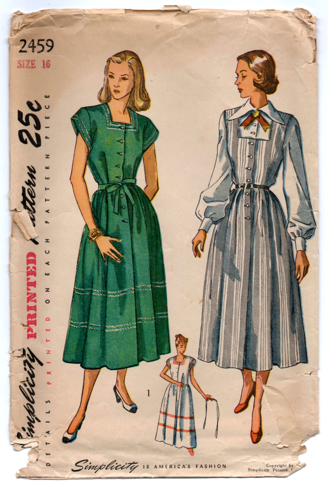 1940's Simplicity Maternity Dress, Jumper and Blouse Pattern - Bust 34