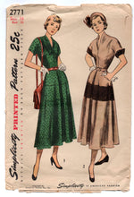 "1940's Simplicity One Piece Dress with V neck and tiered Skirt Pattern - Bust 34"" - No. 2771"