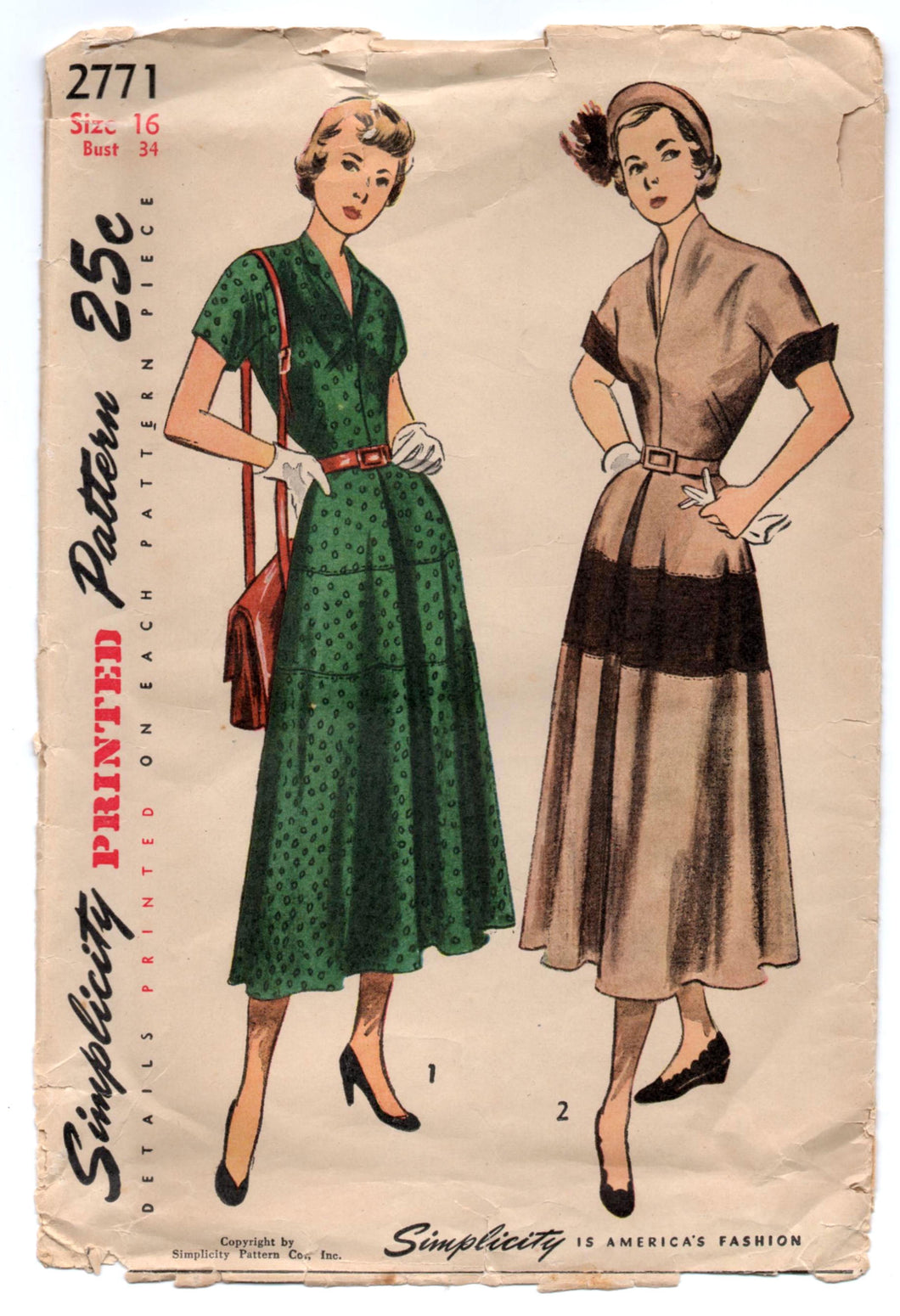 1940's Simplicity One Piece Dress with V neck and tiered Skirt Pattern - Bust 34