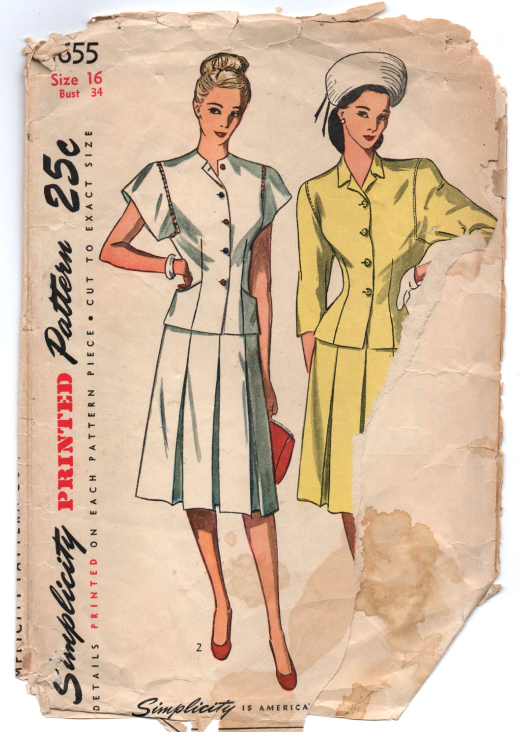 1940's Simplicity Two Piece Dress or Suit Pattern with wide sleeves - Bust 34
