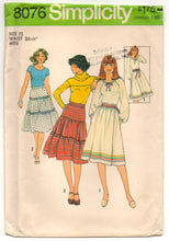 "1970's Simplicity A line and Tiered Skirt Pattern - Waist 26.5"" - UC/FF - No. 8076"