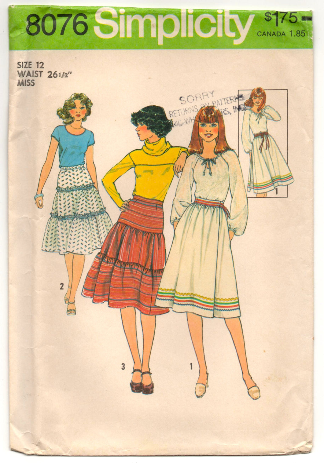 1970's Simplicity A line and Tiered Skirt Pattern - Waist 26.5