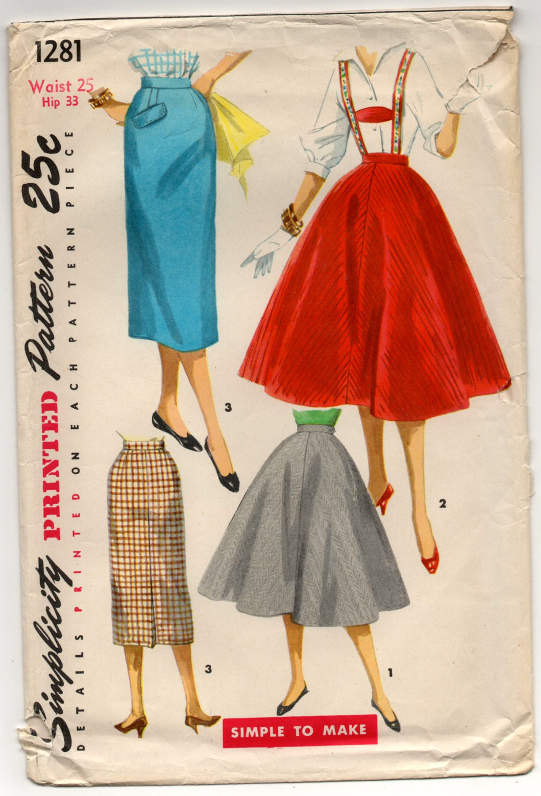 1950's Simplicity Full or Slim Skirt with Suspenders Pattern - Waist 25