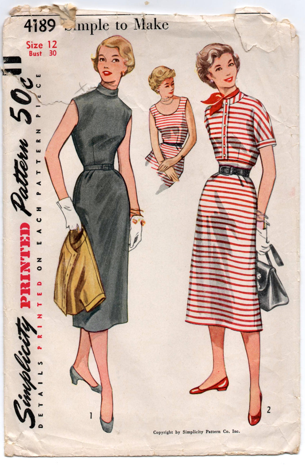 1950's Simplicity Sleeveless Day Dress with Two Collars and Jacket Pattern - Bust 30