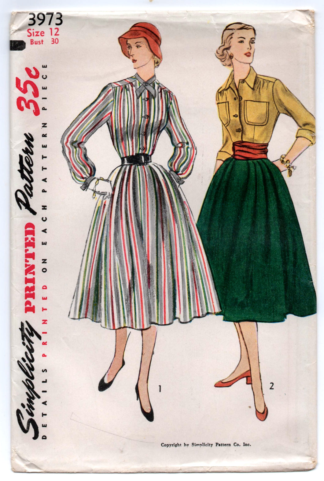 1950's Simplicity Shirtwaist Dress and Full Skirt pattern - Bust 30
