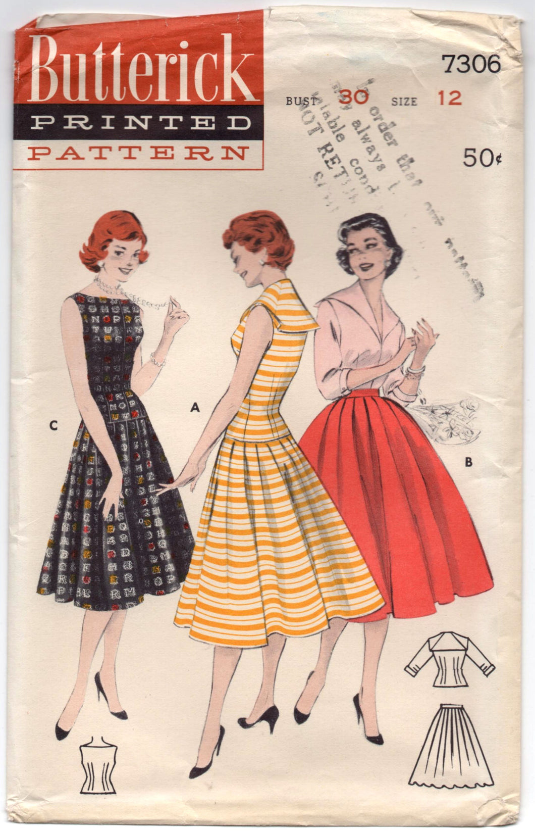 1950's Butterick Rockabilly with Wide Collar and V Neck Dress Pattern - Bust 30