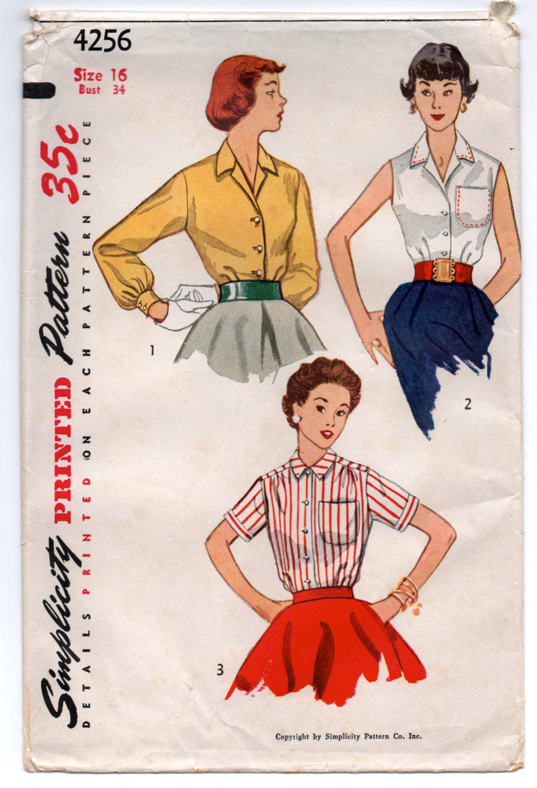 1950's Simplicity Button-Up Blouse with Three Sleeve lengths Pattern - Bust 32