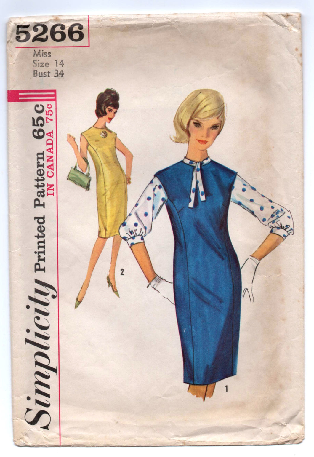1960's Simplicity One-Piece Mod Dress and Blouse Pattern - Bust 34