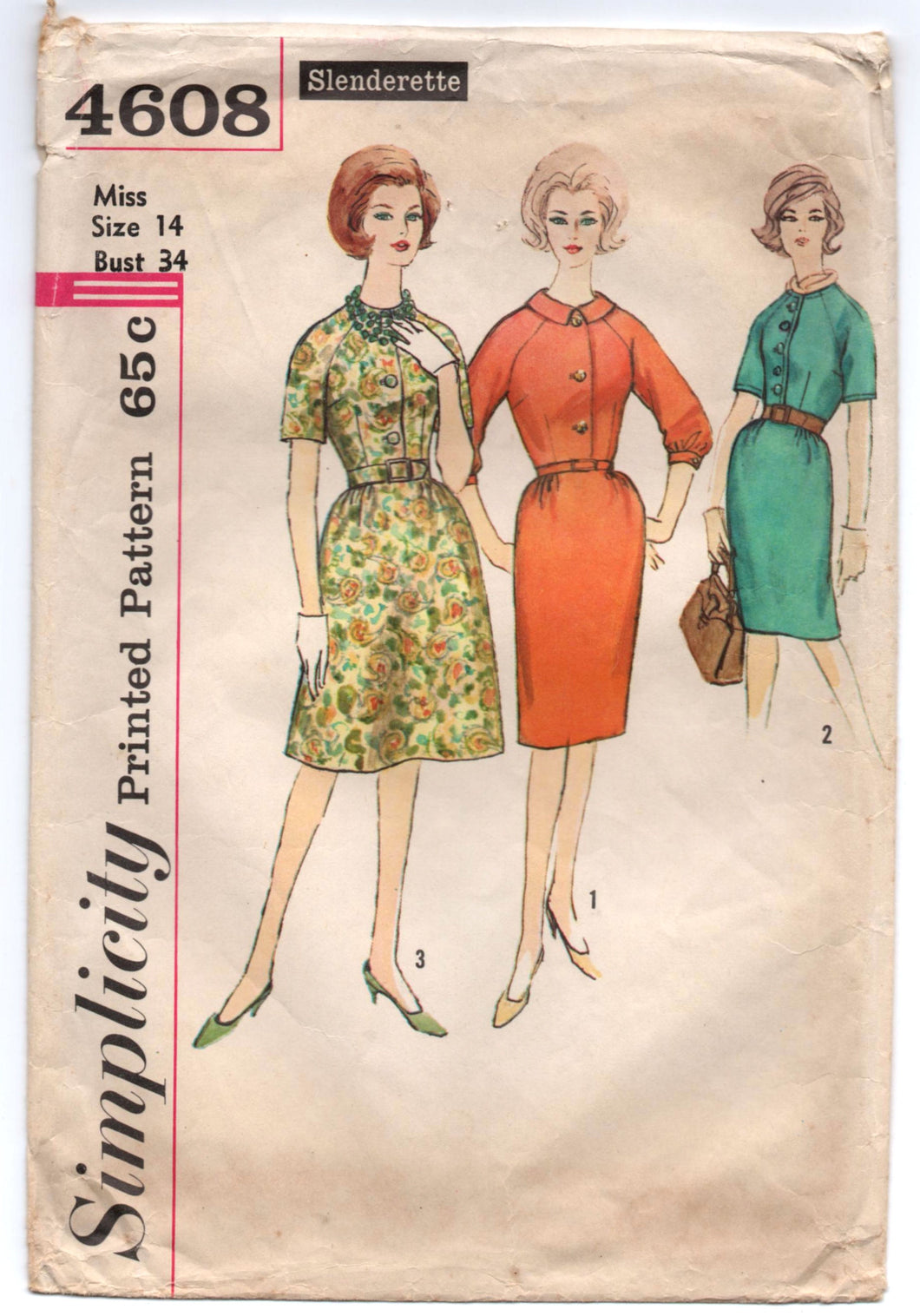 1960's Simplicity One-Piece Day Dress with Pencil or A Line Skirt Pattern - Bust 34