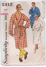 "1960's Simplicity Men's Lounge Jacket or Robe pattern - Chest 34-36"" - UC/FF - No. 2312"