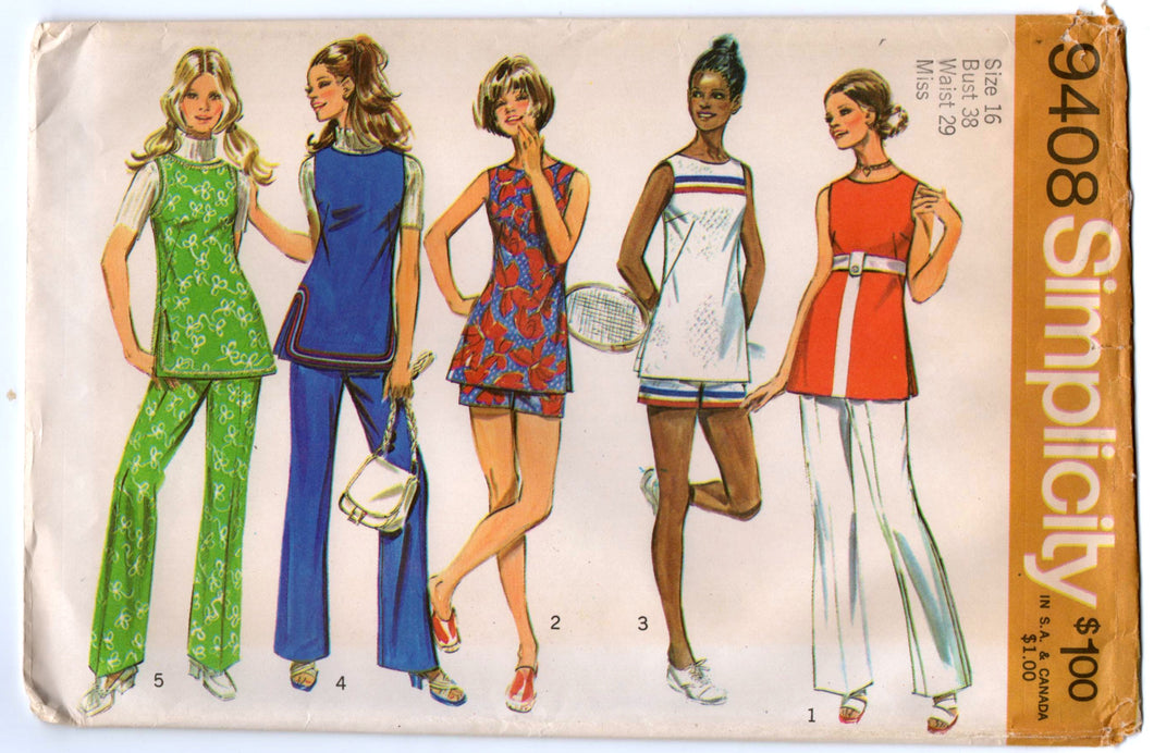 1970's Simplicity Tunic and Wide Leg Pants and Shorts Pattern - Bust 38