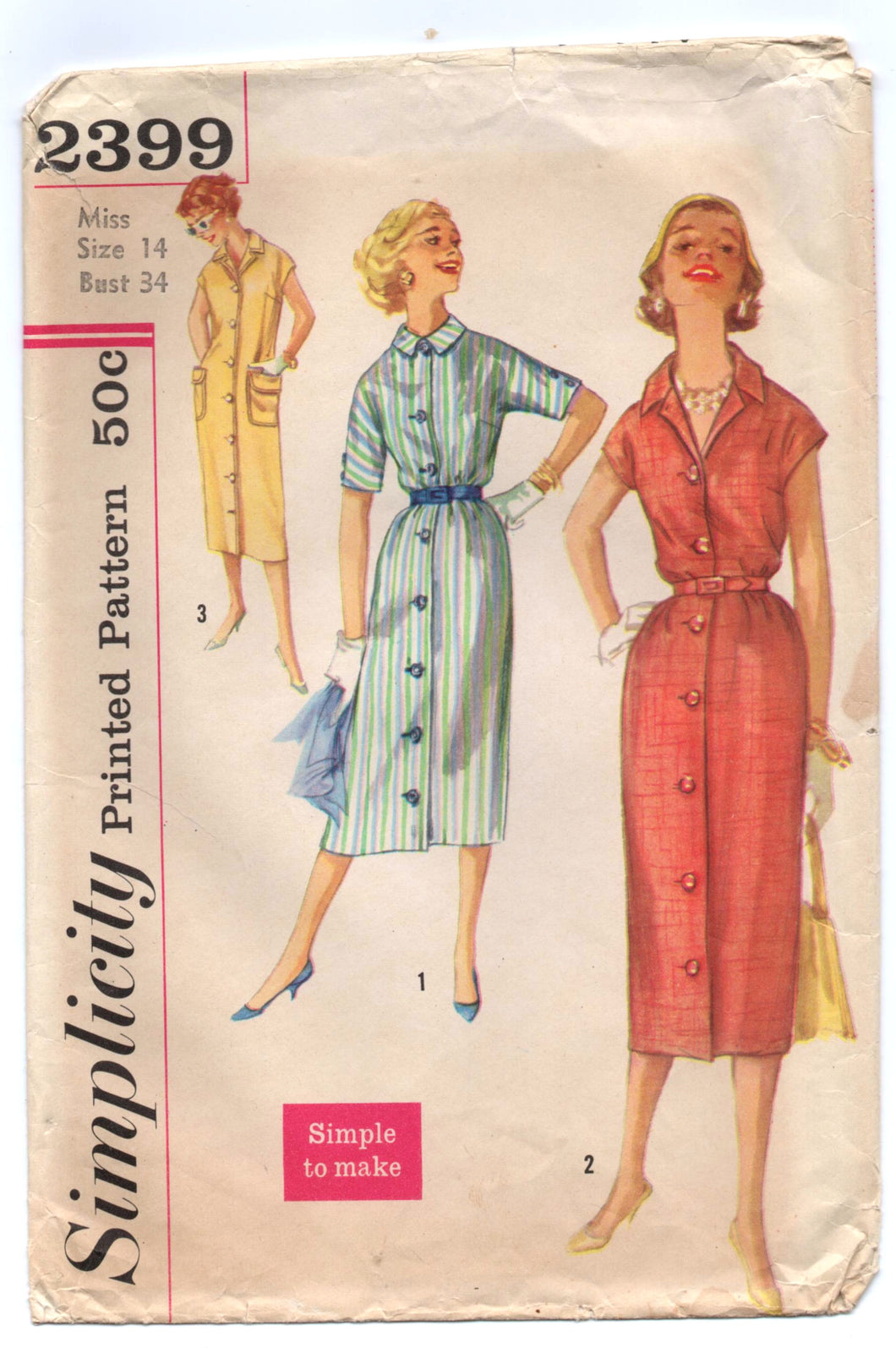 1950's Simplicity One-Piece Sheath Day Dress Pattern - Bust 34