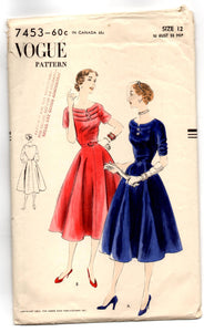 "1950's Vogue One Piece Dress with Tiered bodice Pattern - Bust 30"" - No. 7453"