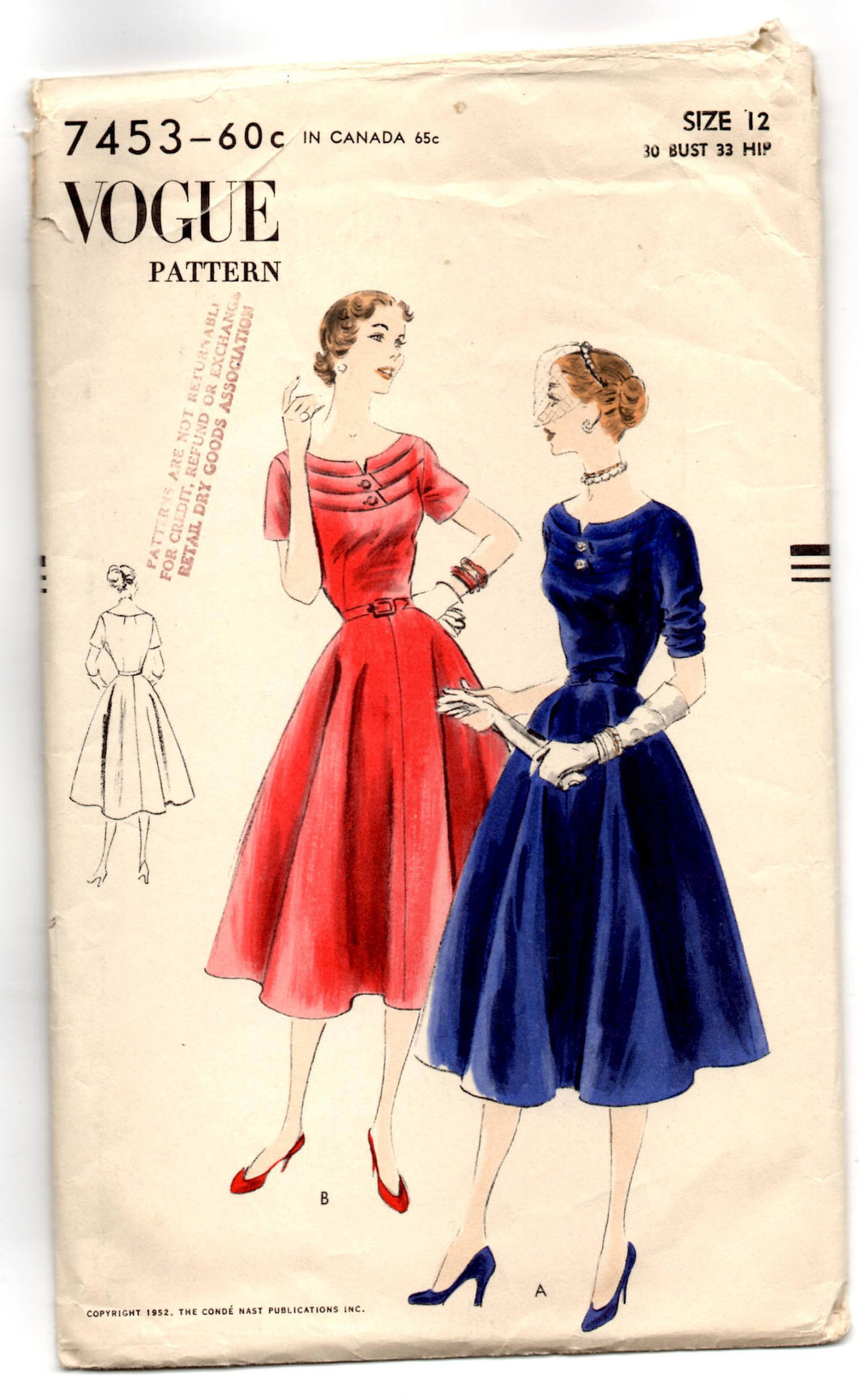 1950's Vogue One Piece Dress with Tiered bodice Pattern - Bust 30