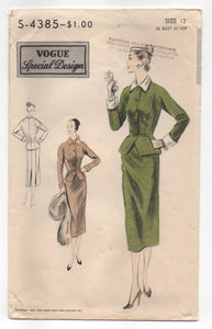 "1950's Vogue Special Design Two-Piece Suit with wide peplum Pattern - Bust 30"" - No. 4385"