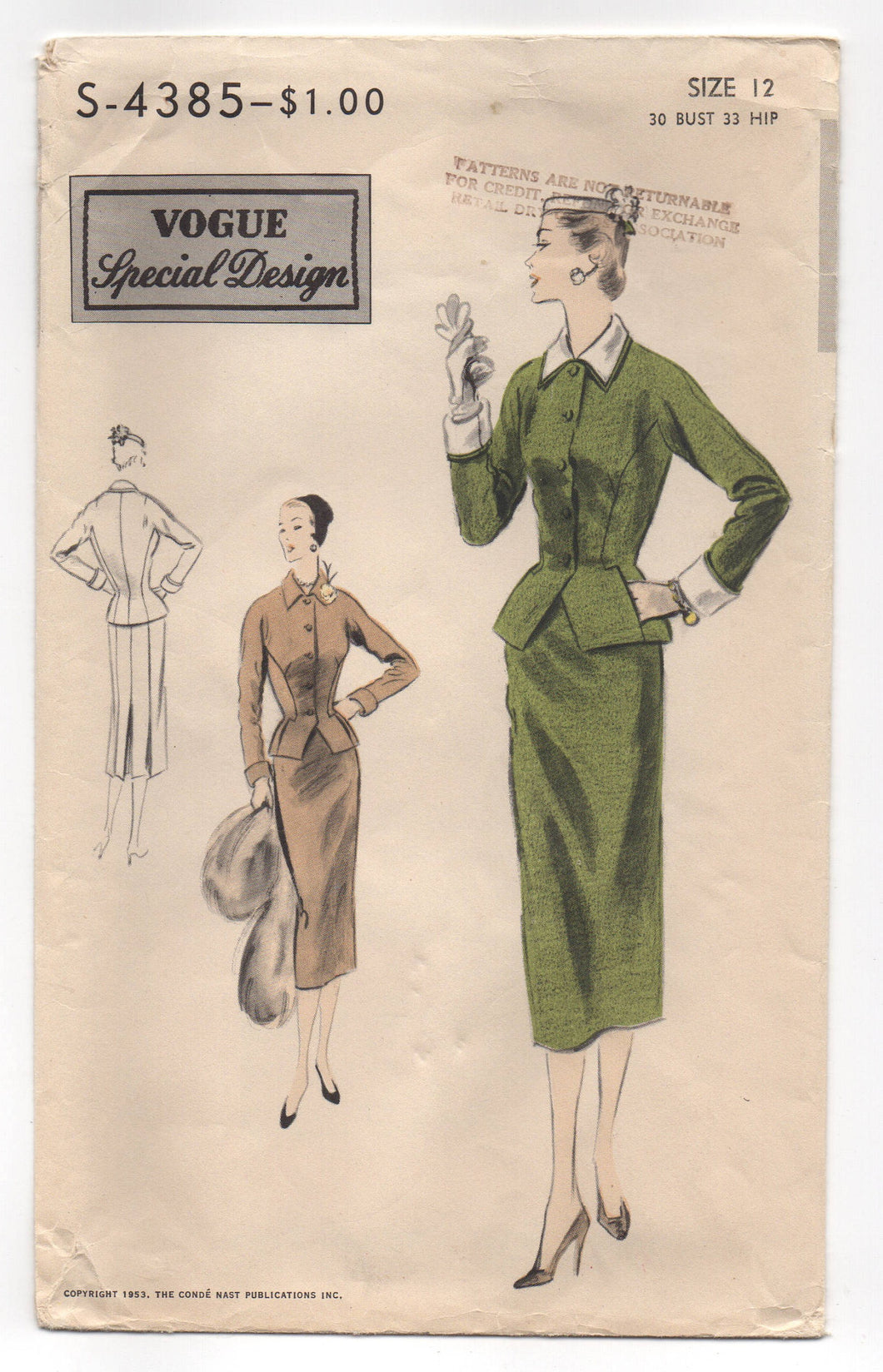 1950's Vogue Special Design Two-Piece Suit with wide peplum Pattern - Bust 30