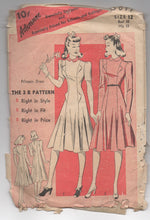 "1940's Advance One Piece Princess Cut Dress Extending Pockets Pattern  - Bust 30"" - No. 5017"