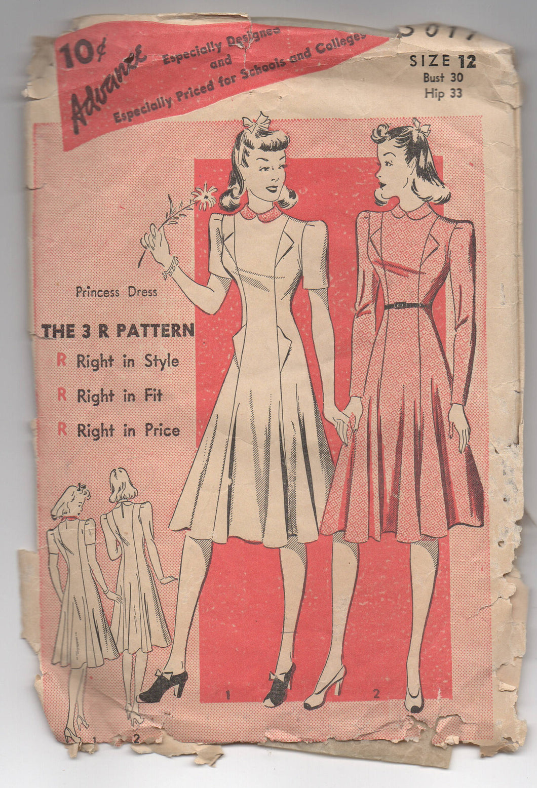 1940's Advance One Piece Princess Cut Dress Extending Pockets Pattern  - Bust 30