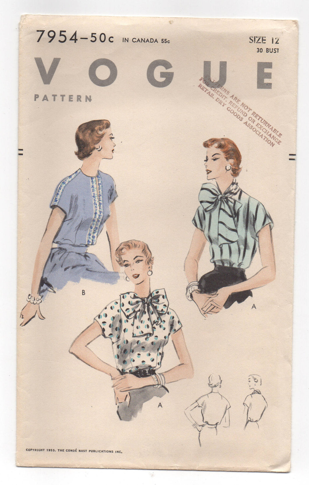 1950's Vogue Blouse with Large Bow or Slit Neck with Cap Sleeves Pattern - Bust 30