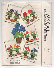 1940's McCall Floral Appliqué  Transfer for Trimming Tea Towels - UC/FF - No. 1113