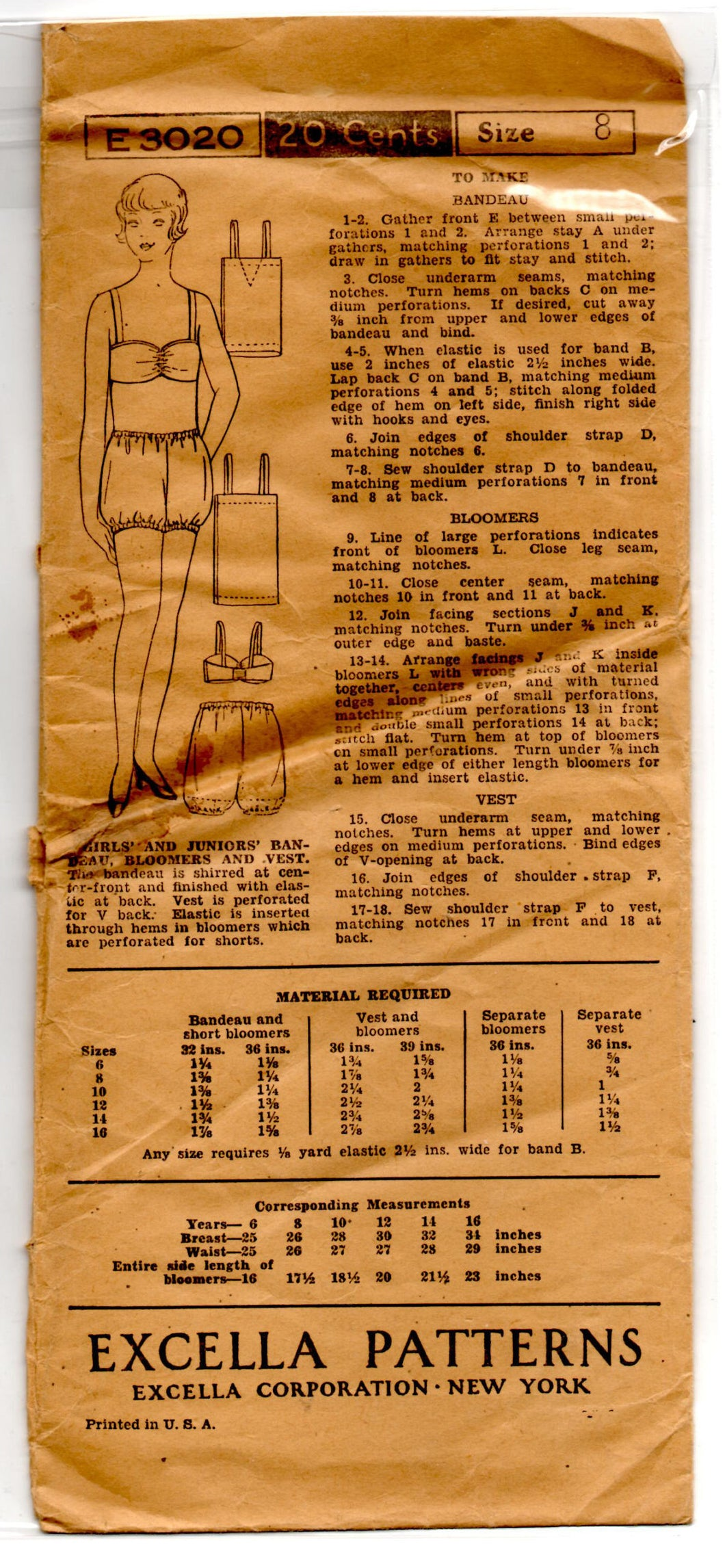 1930's Excella Bra, Bloomers and Undershirt for Girls Pattern - Breast 26