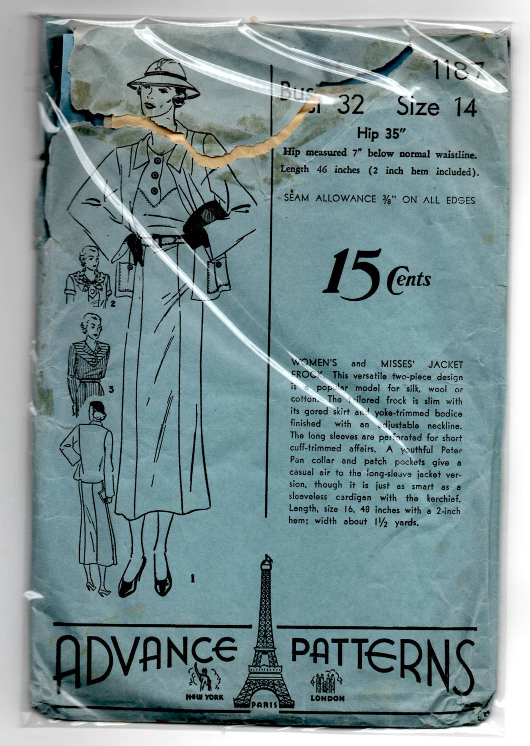 1930's Advance One-Piece Dress with Slim skirt, Jacket and Scarf Pattern - Bust 32