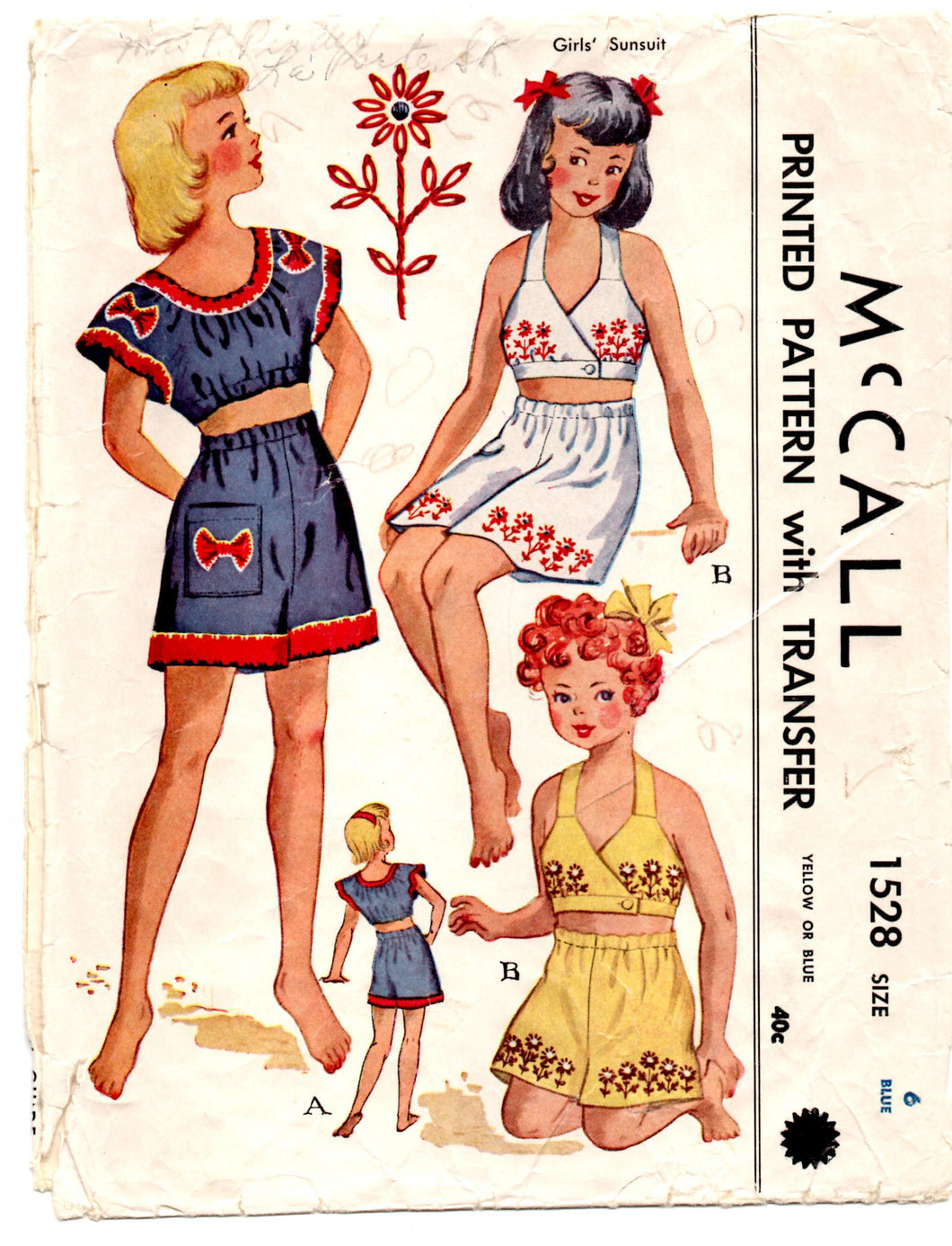 1950's McCall's Girl's Sunsuit with Transfer Pattern - Breast 24