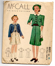 "1930's McCall Girl's One-Piece Dress and Jacket Pattern - Breast 28"" - No. 8855"