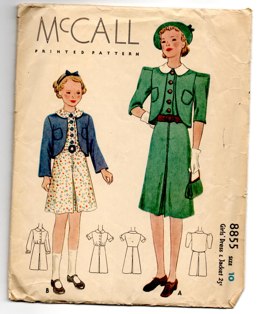 1930's McCall Girl's One-Piece Dress and Jacket Pattern - Breast 28