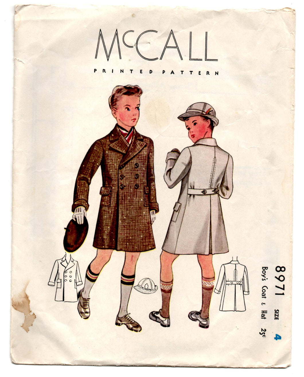 1930's McCall Boy's Double Breasted Coat and Hat Pattern - Breast 23