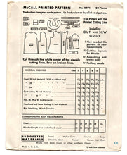 "1930's McCall Boy's Double Breasted Coat and Hat Pattern - Breast 23"" - No. 8971"