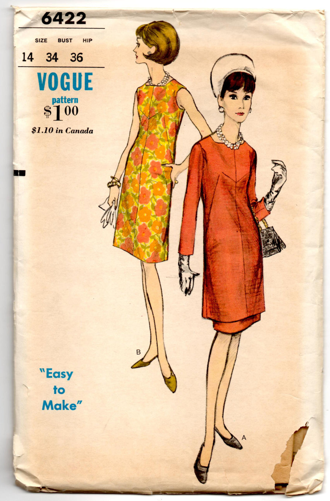 1960's Vogue Day Dress with Two Sleeve Lengths and Skirt Pattern - Bust 34