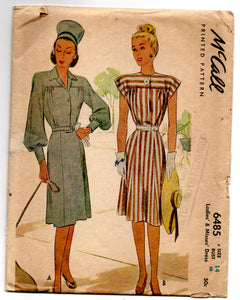 "1940's McCall One-Piece Dress with Two Sleeve Options Pattern - Bust 32"" - No. 6485"