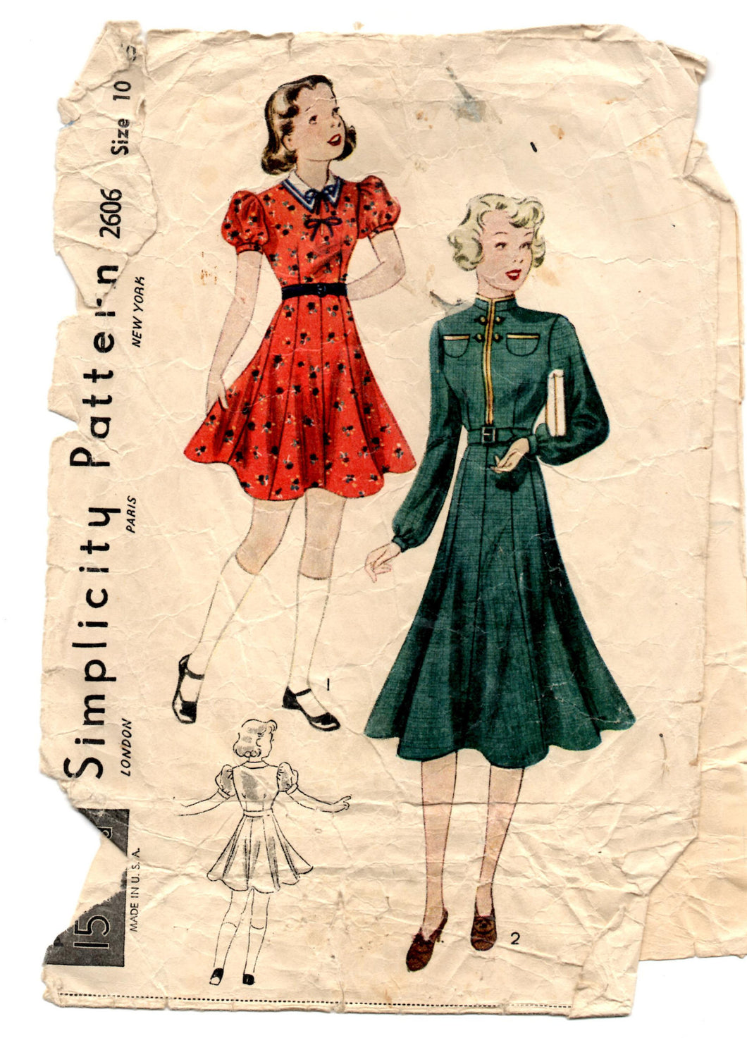 1930's Simplicity Girl's One-Piece Dress with Puff Sleeves or Long Sleeves Pattern - Breast 28
